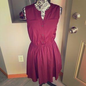 Burgundy A-Line Flowy Dress